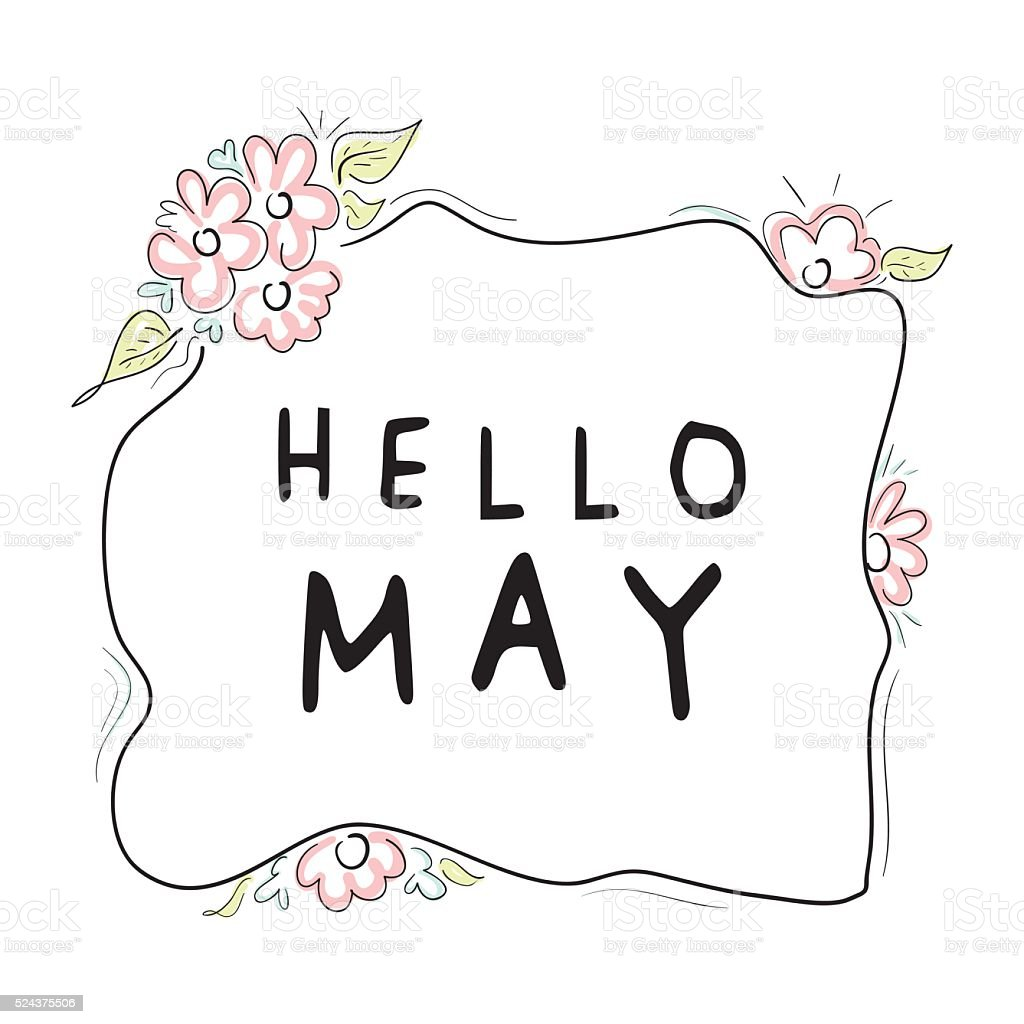 Hello may typography print vector design vector art illustration