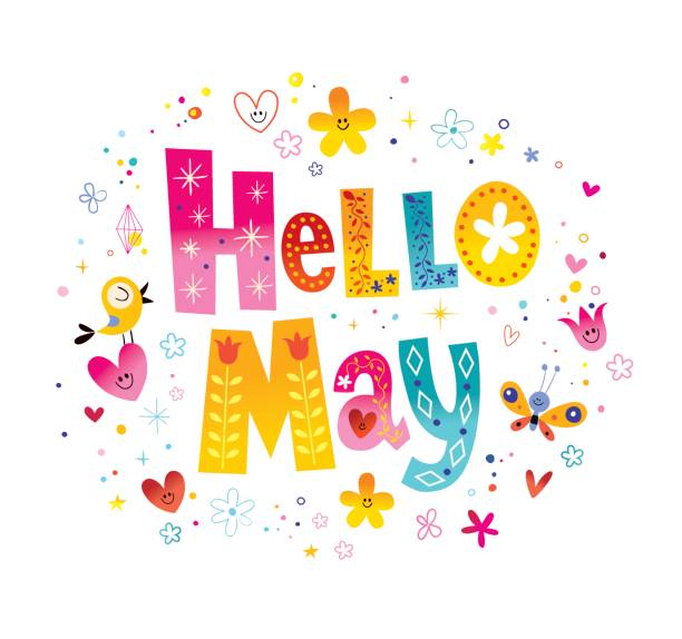 bildbanksillustrationer, clip art samt tecknat material och ikoner med hej maj - maj