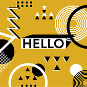 Hello memphis banner background. Geometric trendy yellow summer background.