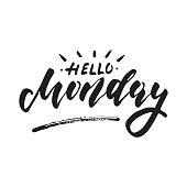 Hello Monday - inspirational lettering design for posters, flyers, t-shirts