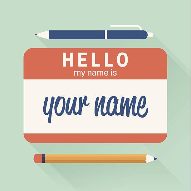 hallo, mein name ist abzeichen - hello stock-grafiken, -clipart, -cartoons und -symbole