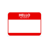 Hello my name is. Inscription in badge