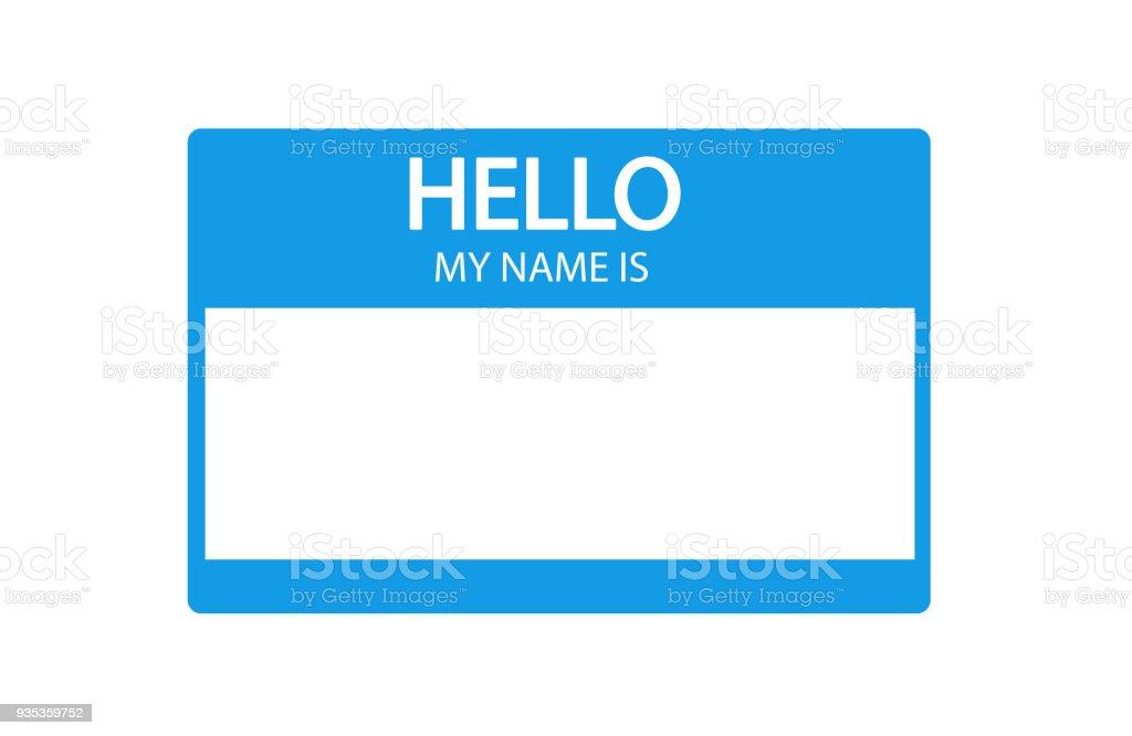 Hola, mi nombre es etiqueta plana introducción azul ilustración de hola mi nombre es etiqueta plana introducción azul y más vectores libres de derechos de azul libre de derechos