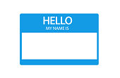 Hello, my name is introduction blue flat label