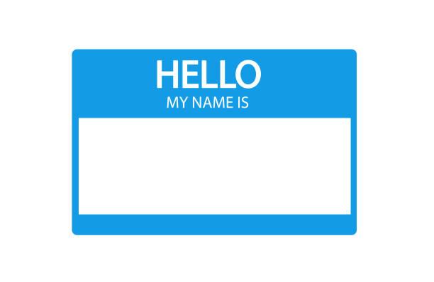 hallo, ist mein name einführung blaue flache label - wesen stock-grafiken, -clipart, -cartoons und -symbole