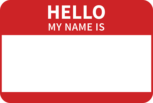 A red introduction sticker/tag