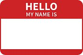 istock Hello, my name is introduction red flat label 494978188