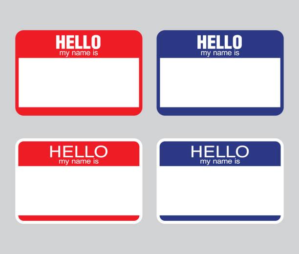 """ilustraciones, imágenes clip art, dibujos animados e iconos de stock de """"hola mi nombre es"""" etiqueta. vector de - saludar"""