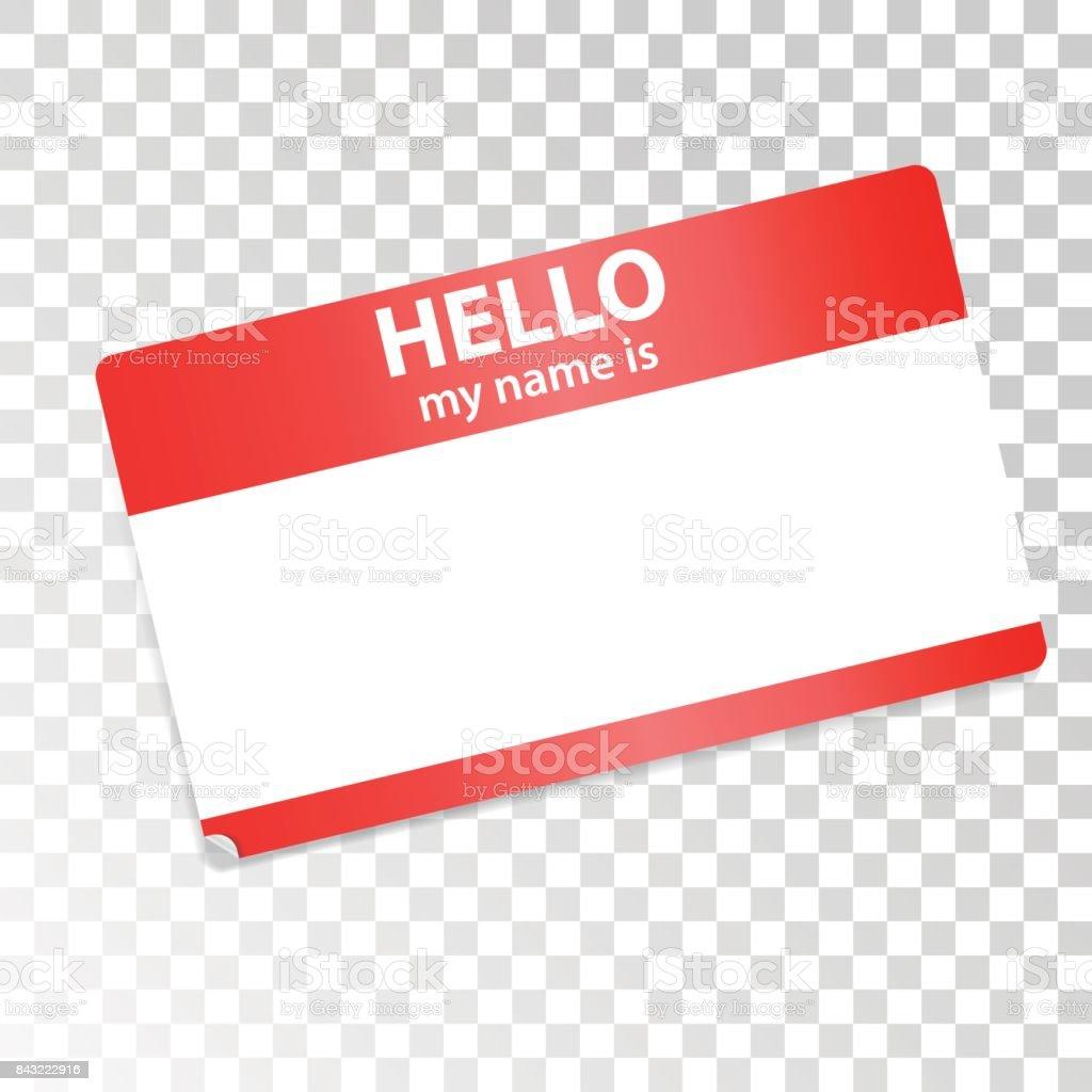 Hallo Ist Mein Name Rotweiße Aufkleber Auf Transparentem