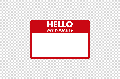 hello my name is sticker tag vector