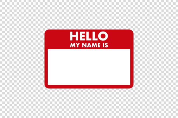 ilustrações, clipart, desenhos animados e ícones de olá meu nome é vetor de etiqueta de adesivo - identidade