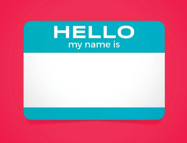 hallo, mein name ist aufkleber - wesen stock-grafiken, -clipart, -cartoons und -symbole