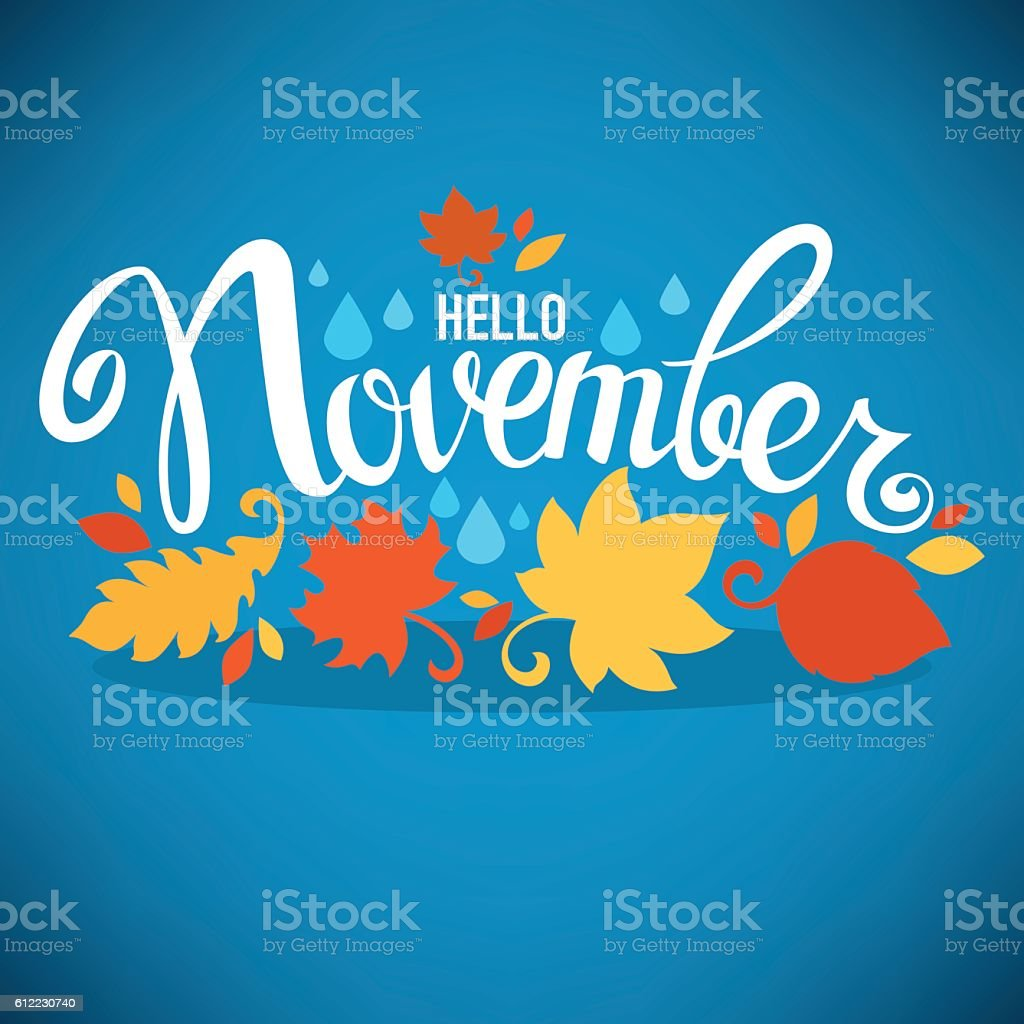 hello November, bright fall leaves and lettering composition vector art illustration