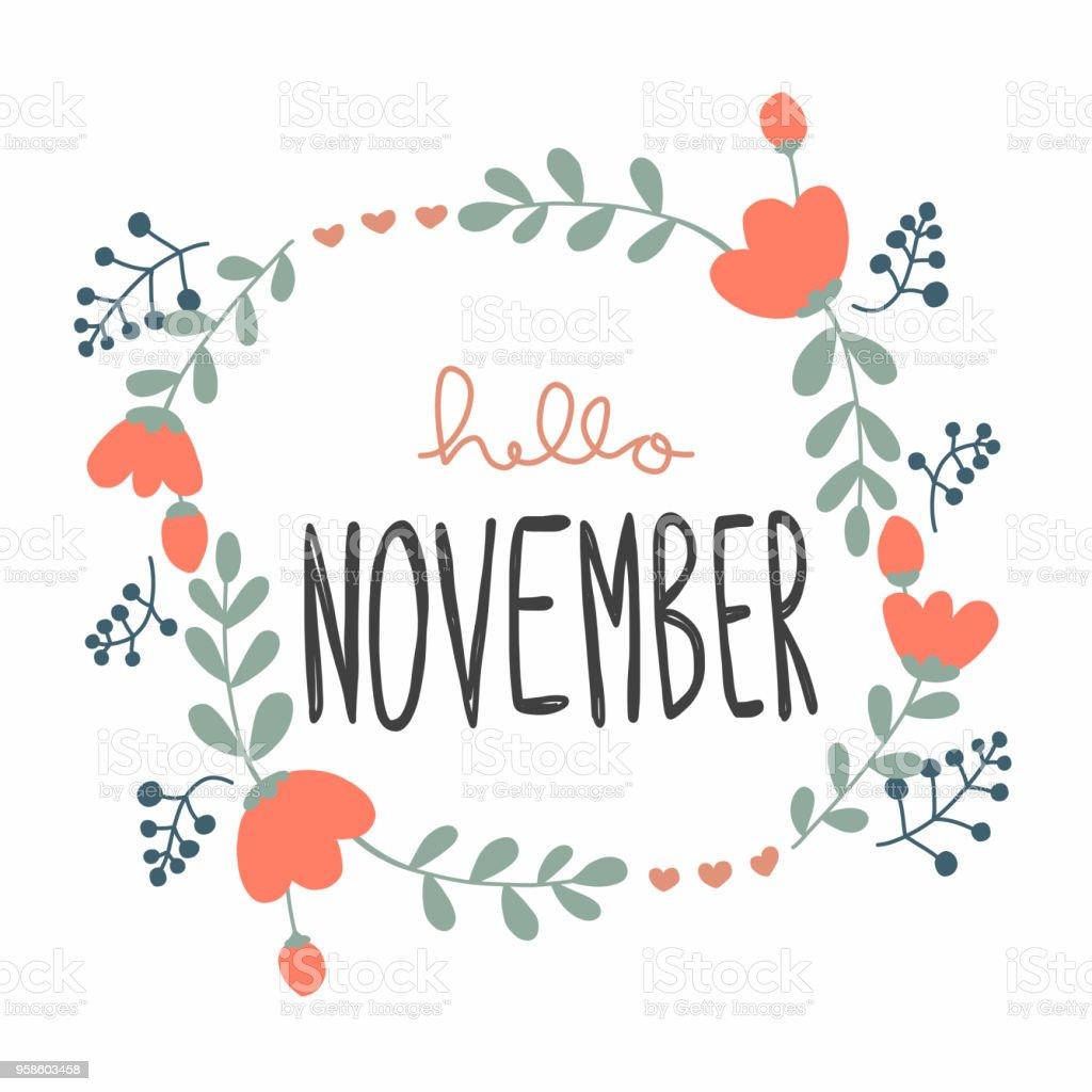 こんにちは 11 月かわいい花の花輪ベクトル イラスト落書きスタイル アーカイブ画像のベクターアート素材や画像を多数ご用意 Istock