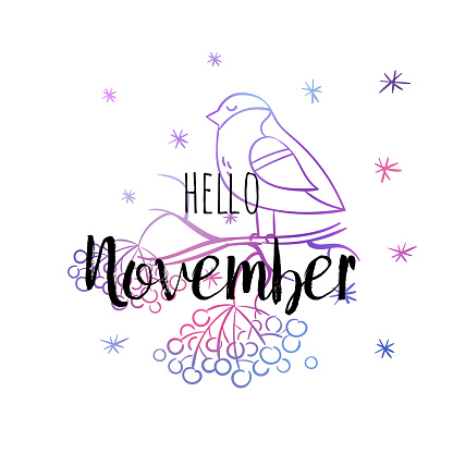 Hello November poster with bullfinch, snowlakes and rowan. Motivational print for calendar, glider, invitation cards, brochures, poster, t-shirts.