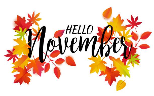 ilustraciones, imágenes clip art, dibujos animados e iconos de stock de hola vector de noviembre - calendario de naturaleza