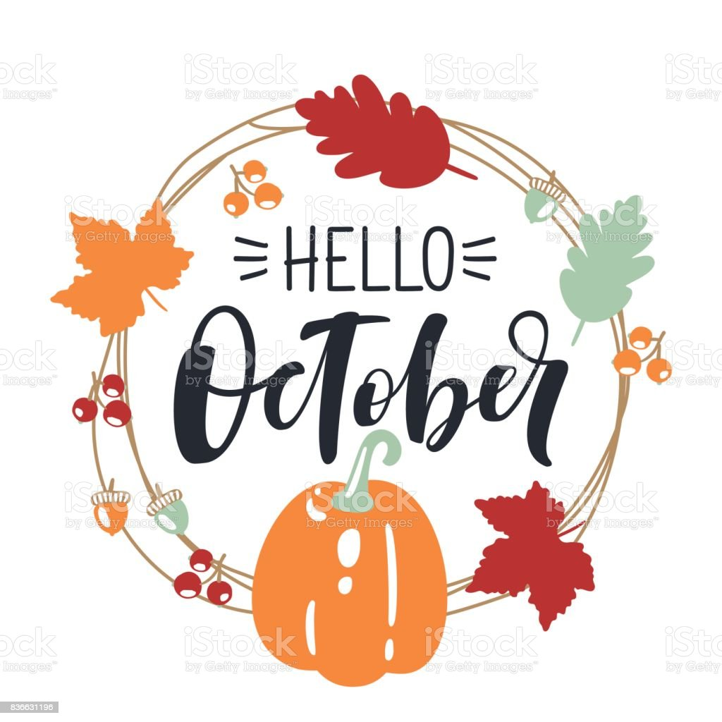 Hello October Bright Fall Leaves And Lettering Composition