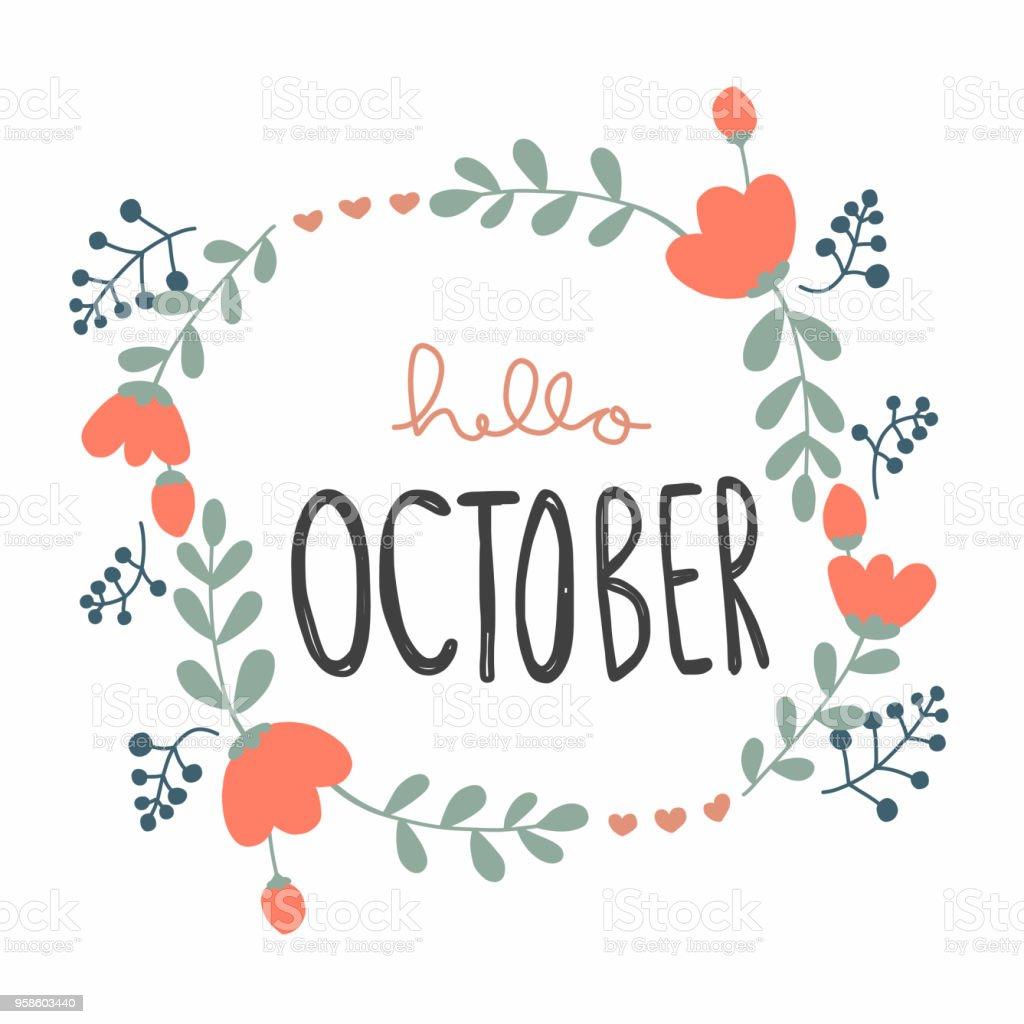 こんにちは 10 月かわいい花の花輪ベクトル イラスト落書きスタイル
