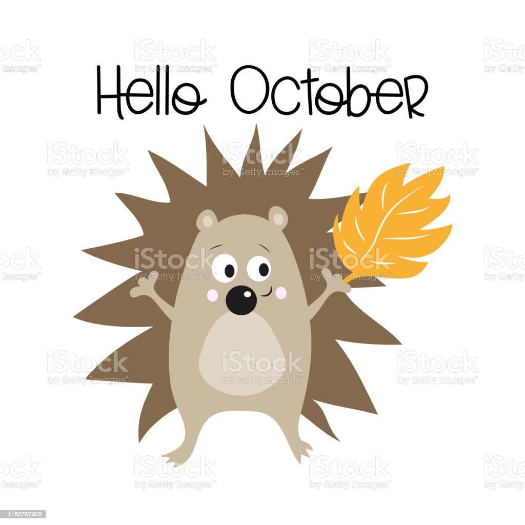 こんにちは10月かわいいハリネズミ秋のイラスト お祝いのベクターアート素材や画像を多数ご用意 Istock