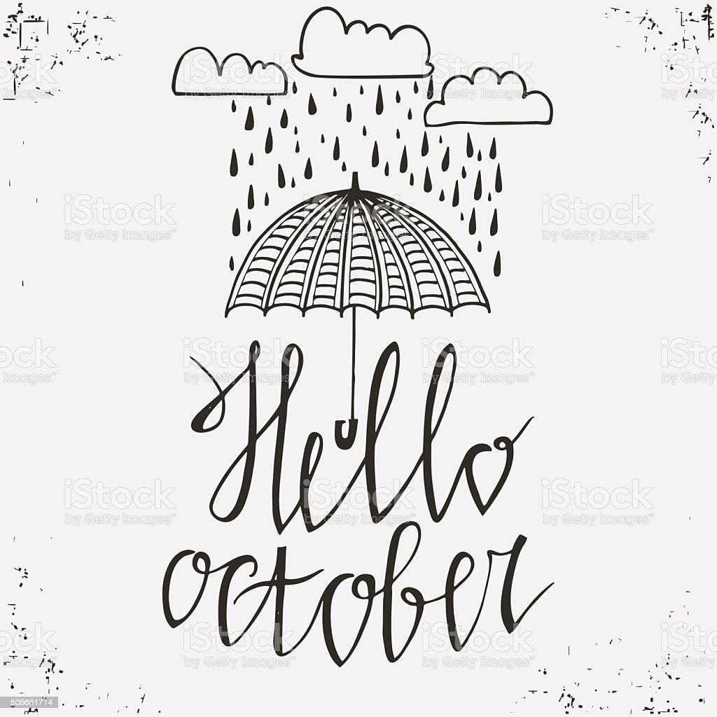 Hello October Typographic Design. Calligraphy. Stock Vector ...