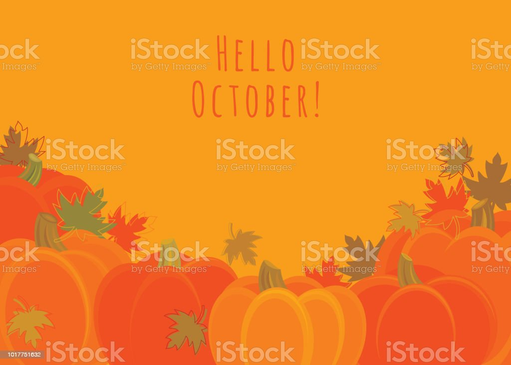 Hello October! vector art illustration
