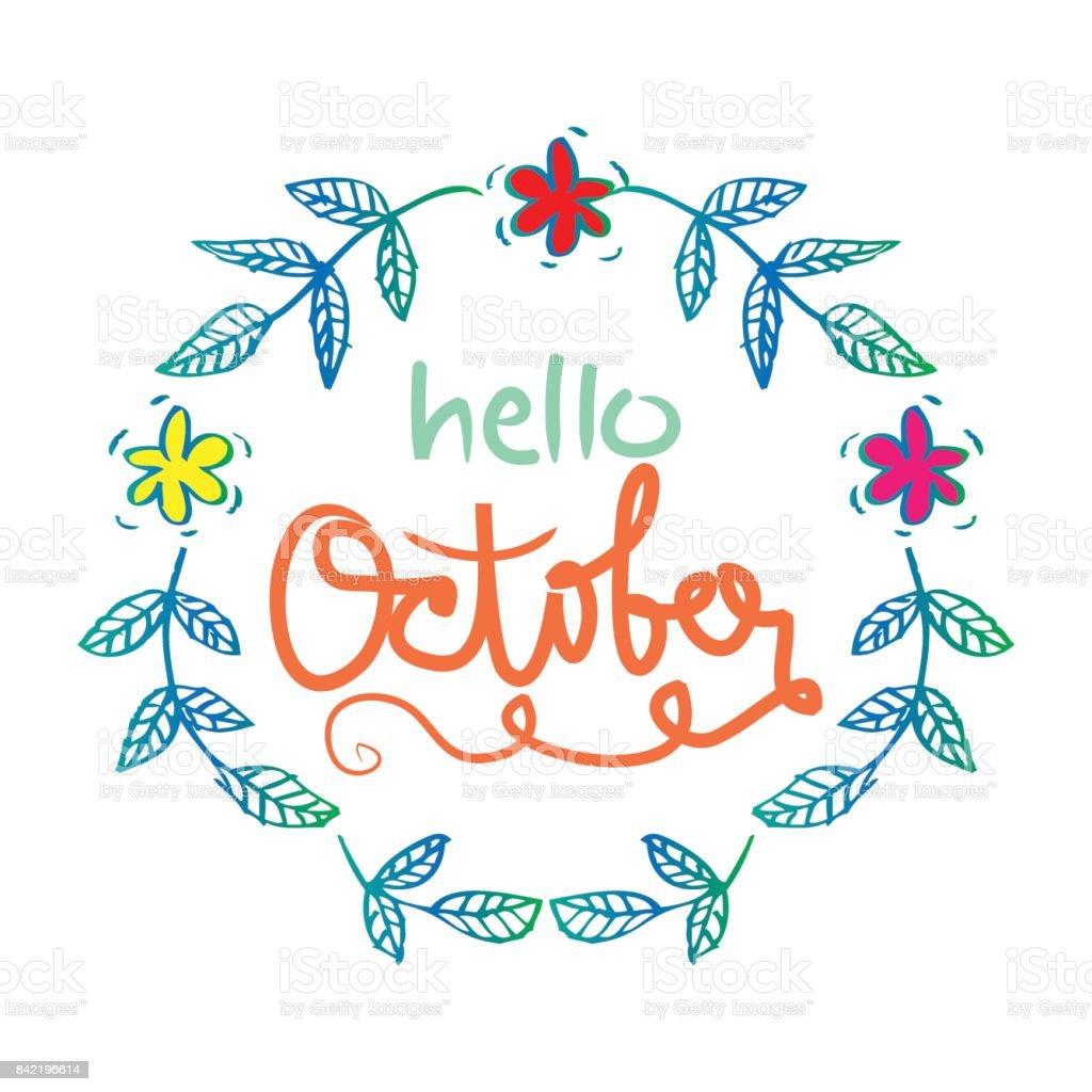 Hello October Pop Art Illustration Vector Stock Vector 219332275 ...