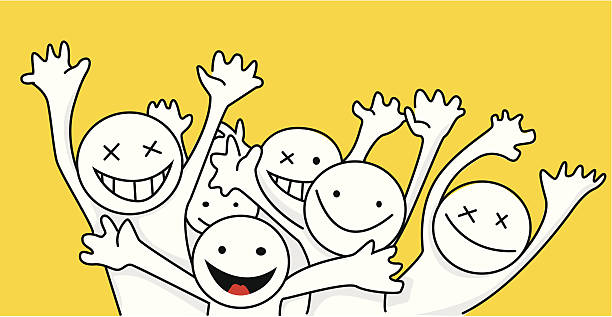Hello people Illustration of a happy group bilar stock illustrations