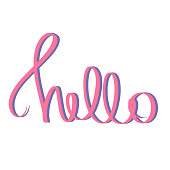 Hello pink violet hand lettering on white background. Hi Holiday greeting card, postcard. Vector sign sweet welcome purple lettered quote. Bonjour Modern calligraphy talk. Template for invitation.