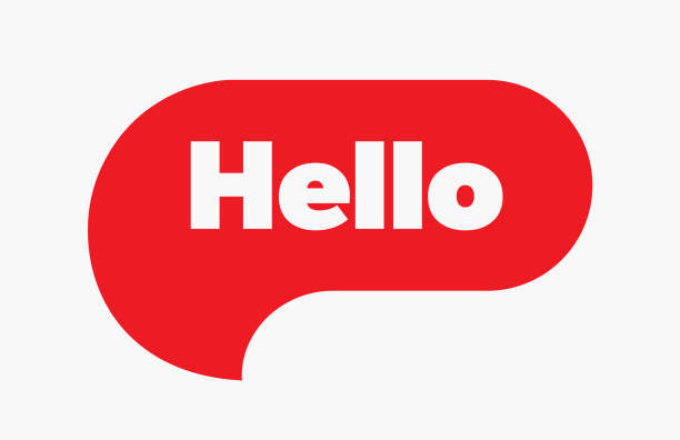 Hello quote message red bubble. Vector illustration. Simple Red Text Hello sign. Speech Red bubble with word Hello. Red Bubble Isolated on white background. vector art illustration