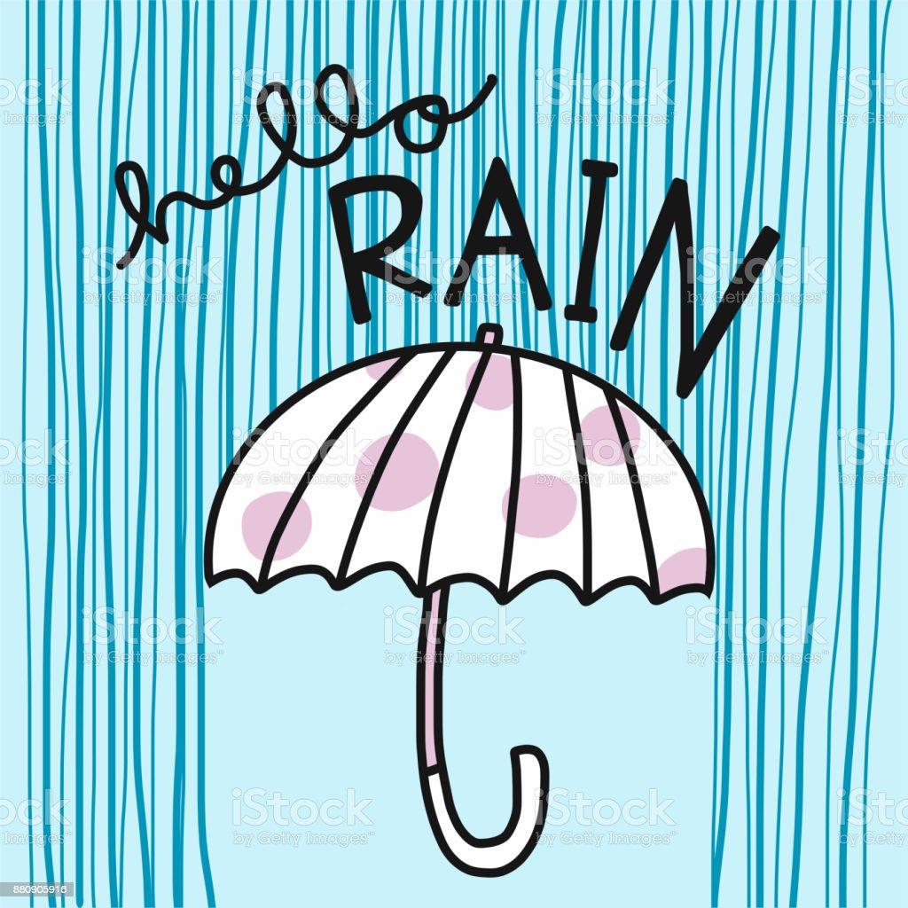 Bonjour Pluie Word Parapluie Et Pluie Vector Illustration De