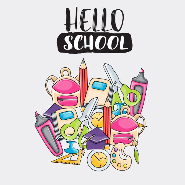 ilustraciones, imágenes clip art, dibujos animados e iconos de stock de hola escuela doodle tarjeta de felicitación del arte de clip. dibujos animados vector ilustración para flyer o banner. texto de secuencia de comandos de tipografía. - escuela media