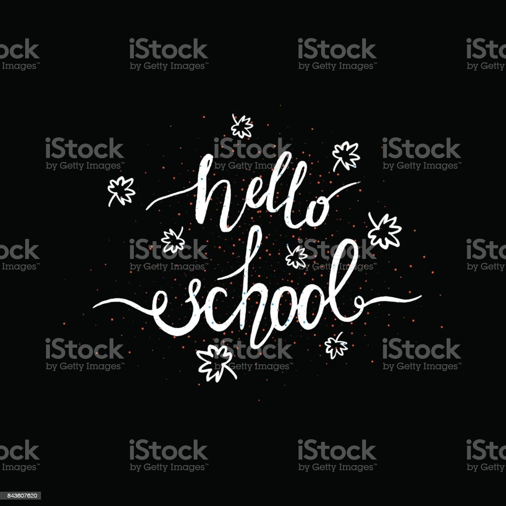 Hello School Greeting Card With Scattered Maple Leaves On Black