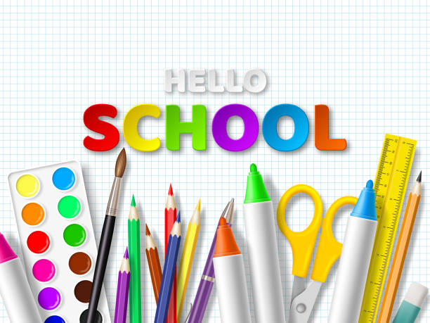 Hello school typography design. Hello school typography design with realistic school supplies. Paper cut style letters on squared paper background. Vector illustration. school supplies border stock illustrations