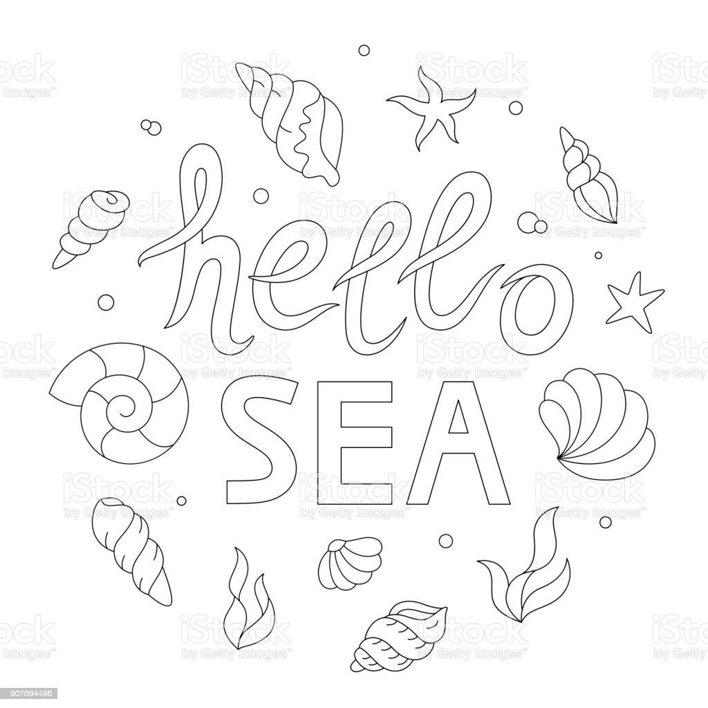 Ilustración De Hola Letras De Mar Adultos Página Para