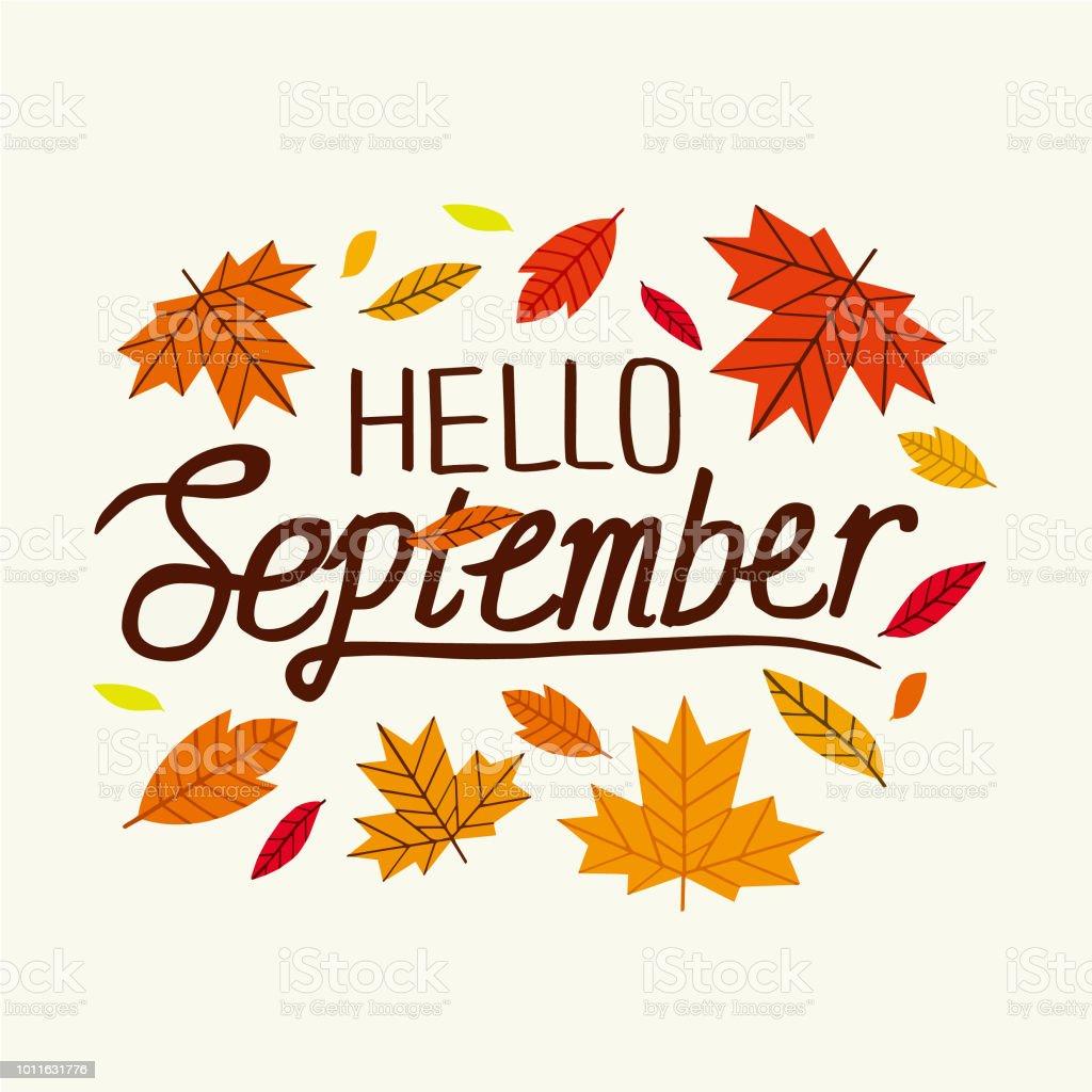 Hello September Decorative Letter Hand Drawn Lettering