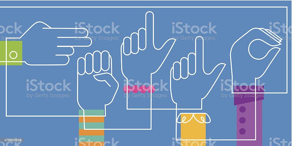 Hello Sign Language vector art illustration