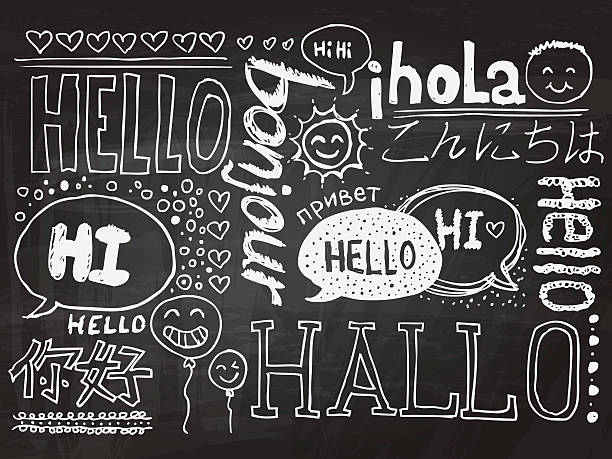 hallo skizze zeichnung kollektion - hello stock-grafiken, -clipart, -cartoons und -symbole