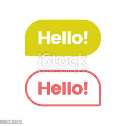 istock Hello Speech Bubble Icon Vector Design. 1280547715