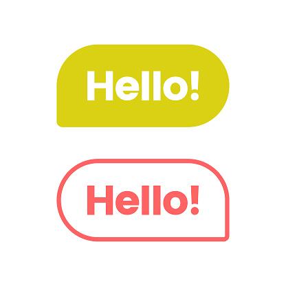Hello Speech Bubble Icon Vector Design.