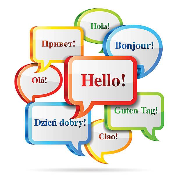 hallo sprechblasen. - englischlernende stock-grafiken, -clipart, -cartoons und -symbole