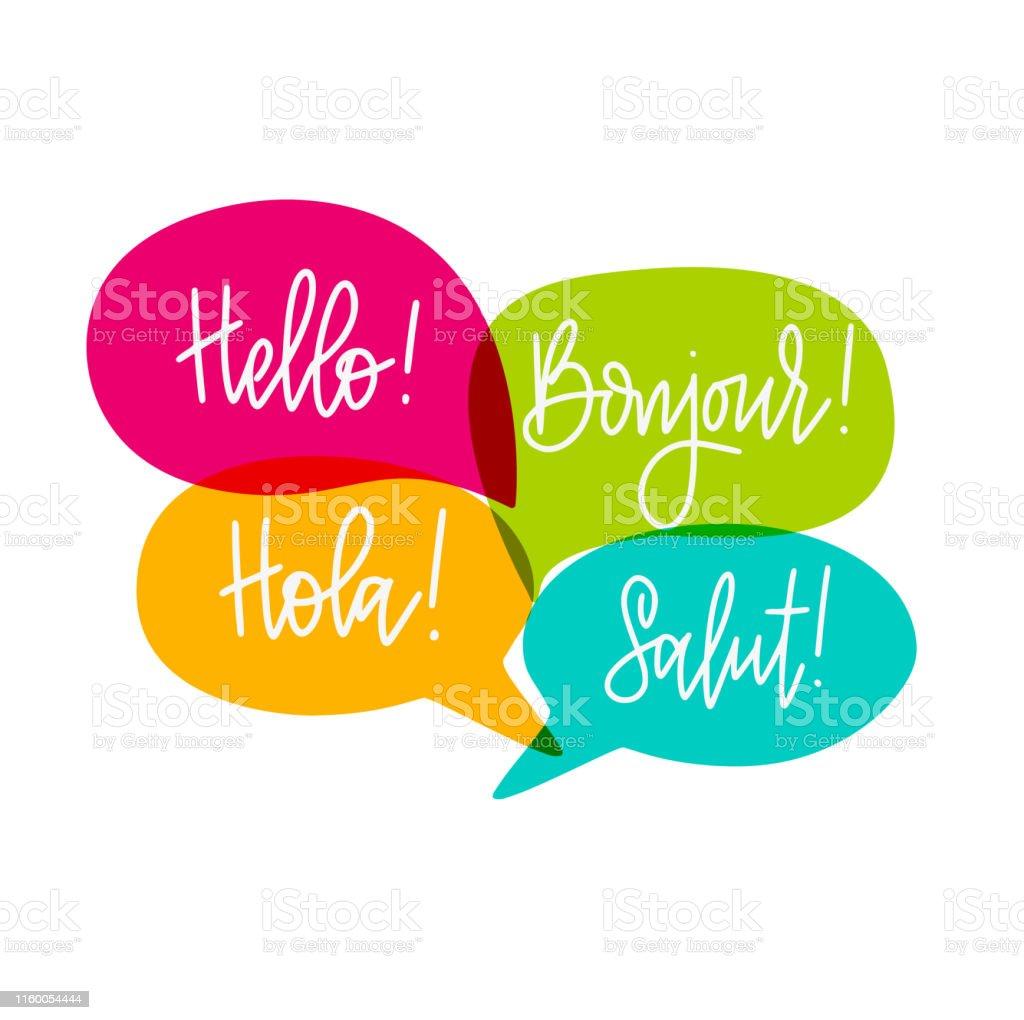 Vetores De Olá Discurso Bolhas Vector Lettering Inglês Francês E Espanhol Citações Inspiradoras Motivacionais Tshirt Poster Da Parede Impressão Da
