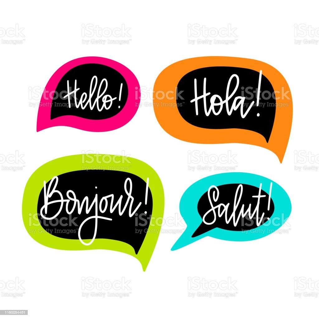 Vetores De Olá Discurso Bolhas Vector Lettering Inglês