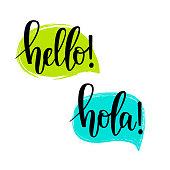 Hello speech bubbles vector lettering. Motivational inspirational quote. T-shirt, wall poster, mug print, home decor design
