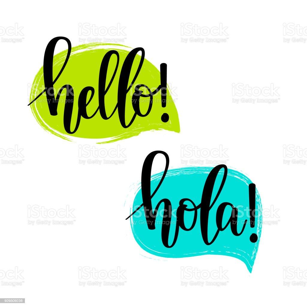 Hola burbujas de discurso vector Letras - ilustración de arte vectorial
