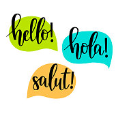 Hello speech bubbles vector lettering