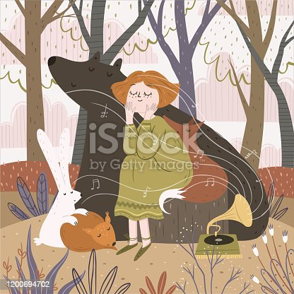 istock Hello spring and summer! Cute vector illustration of a girl and animals in the forest listening to music. Drawing of a hare, bear, fox and fairy in nature near the gramophone 1200694702