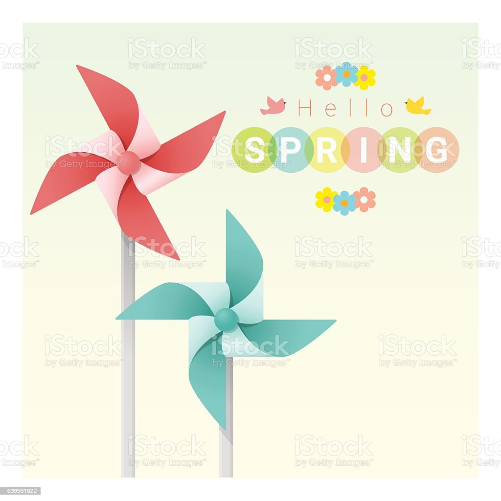 Hello spring background with colorful pinwheels 2 vector art illustration