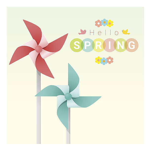 hello spring background with colorful pinwheels 2 - hello stock-grafiken, -clipart, -cartoons und -symbole