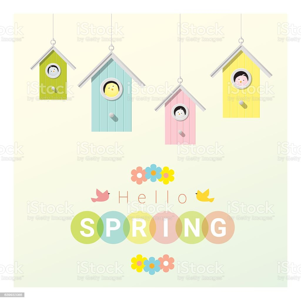 Hello spring background with little birds in birdhouses 2 vector art illustration