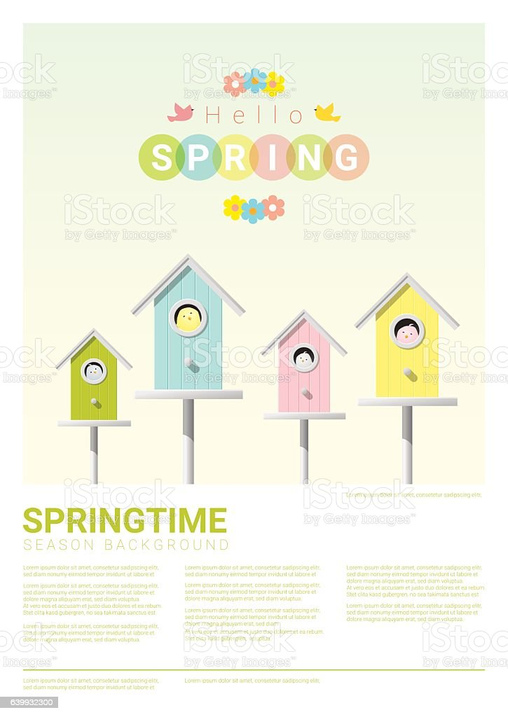 Hello spring background with little birds in birdhouses 3 vector art illustration